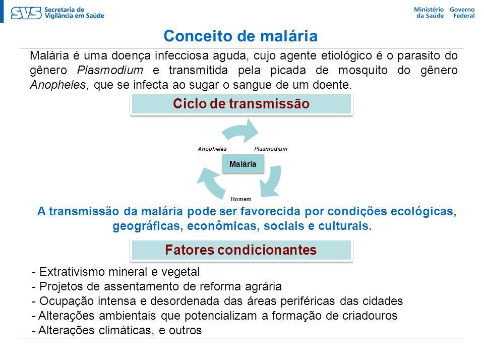 Conceito de malária Malária é uma doença infecciosa aguda, cujo agente etiológico é o parasito do gênero Plasmodium e transmitida pela picada de mosqu