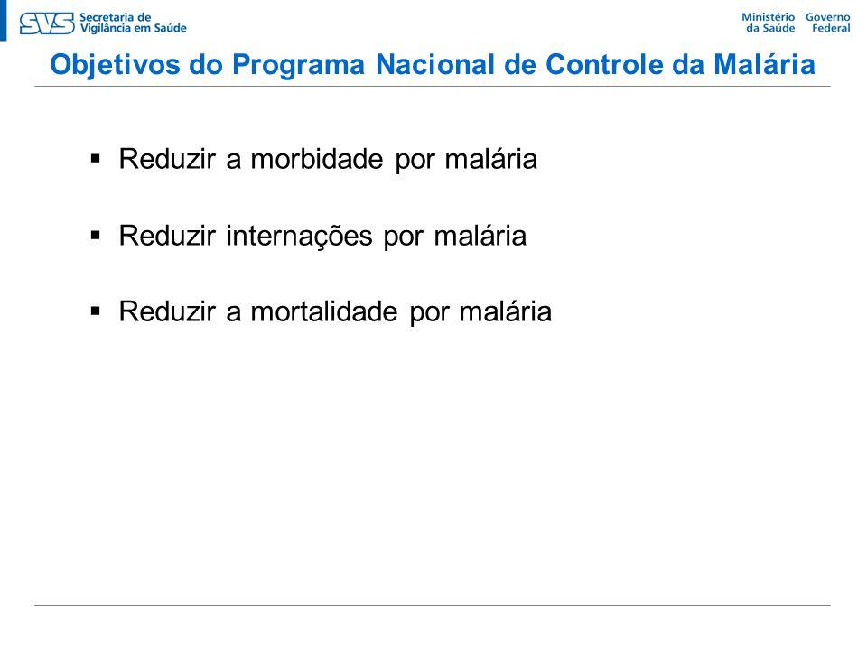 Objetivos do Programa Nacional de Controle da Malária   Reduzir a morbidade por malária   Reduzir internações por malária   Reduzir a mortalidad