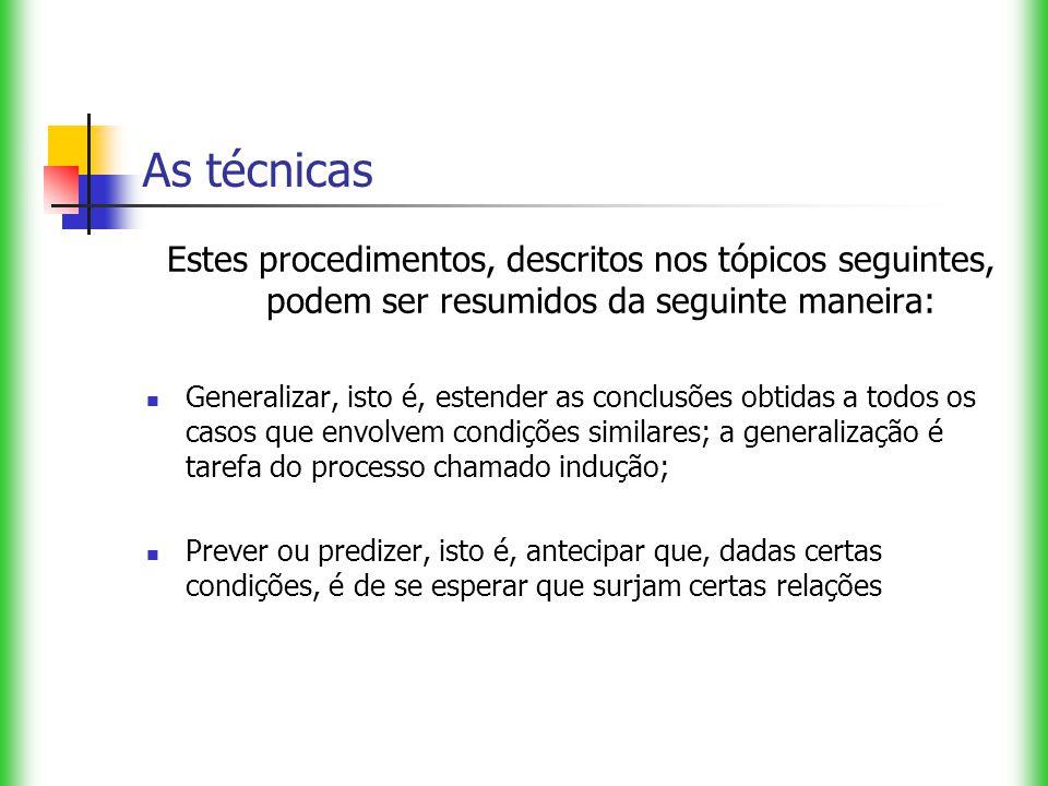As técnicas Estes procedimentos, descritos nos tópicos seguintes, podem ser resumidos da seguinte maneira: Generalizar, isto é, estender as conclusões