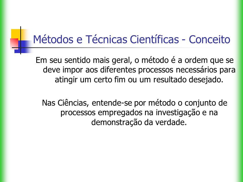 Métodos e Técnicas Científicas - Conceito Em seu sentido mais geral, o método é a ordem que se deve impor aos diferentes processos necessários para at