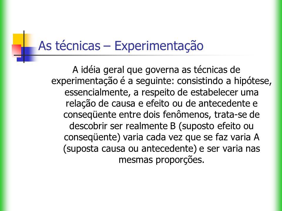 As técnicas – Experimentação A idéia geral que governa as técnicas de experimentação é a seguinte: consistindo a hipótese, essencialmente, a respeito