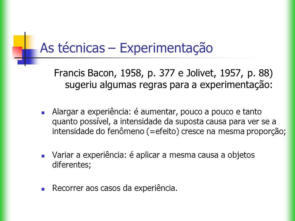 As técnicas – Experimentação Francis Bacon, 1958, p. 377 e Jolivet, 1957, p. 88) sugeriu algumas regras para a experimentação: Alargar a experiência: