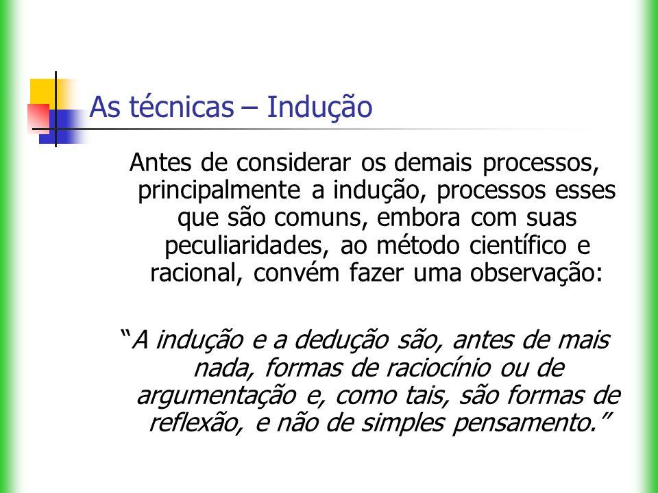 As técnicas – Indução Antes de considerar os demais processos, principalmente a indução, processos esses que são comuns, embora com suas peculiaridade