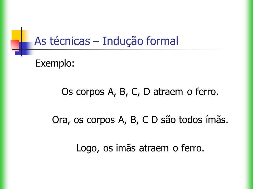 As técnicas – Indução formal Exemplo: Os corpos A, B, C, D atraem o ferro. Ora, os corpos A, B, C D são todos ímãs. Logo, os imãs atraem o ferro.