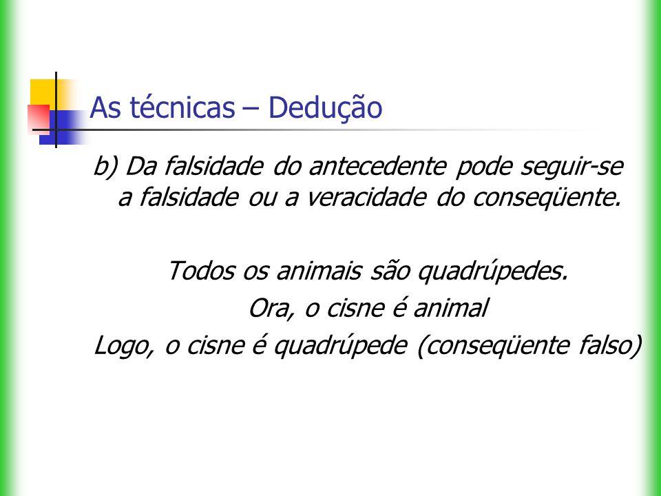 As técnicas – Dedução b) Da falsidade do antecedente pode seguir-se a falsidade ou a veracidade do conseqüente. Todos os animais são quadrúpedes. Ora,