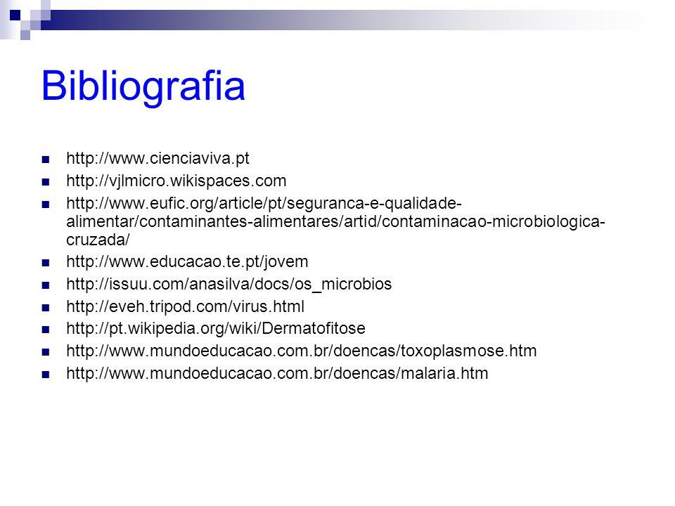 Bibliografia http://www.cienciaviva.pt http://vjlmicro.wikispaces.com http://www.eufic.org/article/pt/seguranca-e-qualidade- alimentar/contaminantes-a