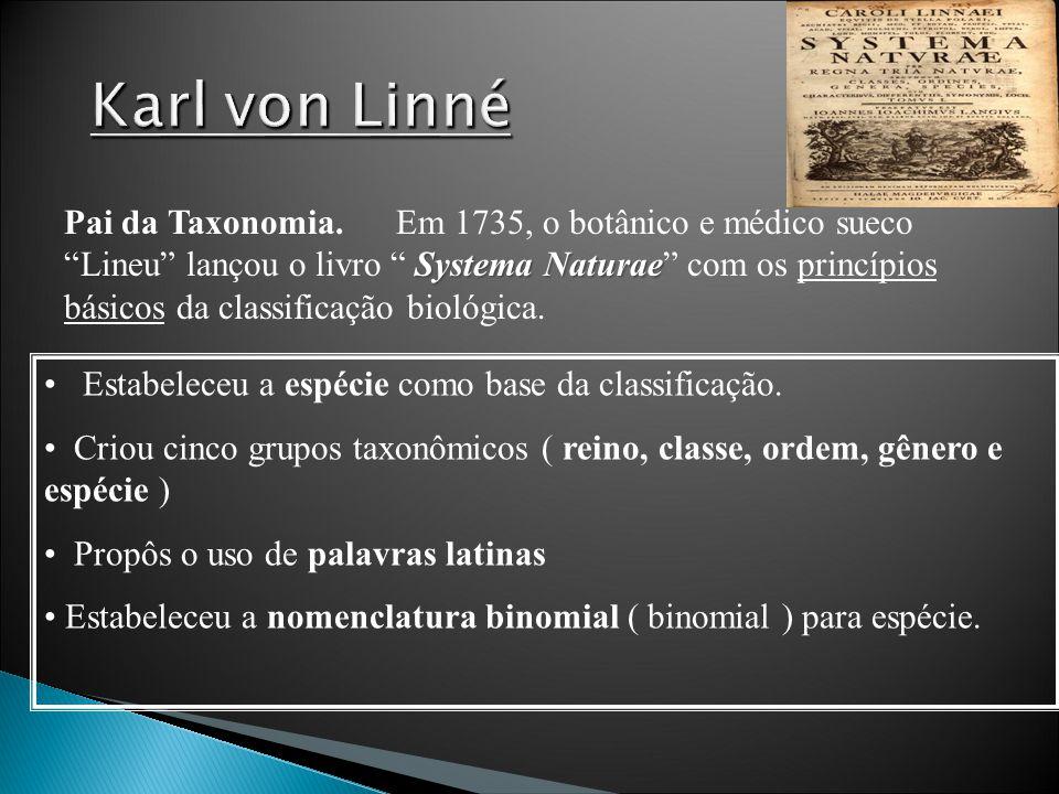 Systema Naturae Pai da Taxonomia.