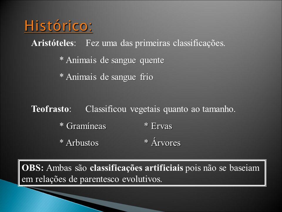 Sistemas de classificação dos seres vivos: Linnaeus (1775): reinos Animal e Vegetal Robert Whittaker (1969): 5 reinos, divididos principalmente pelas características morfológicas e fisiológicas: Monera: Procariotos Protista: Eucariotos unicelulares –Protozoários (sem parede celular) e Algas (com parede celular) Fungi: Eucariotos aclorofilados Plantae: Vegetais Animalia: Animais