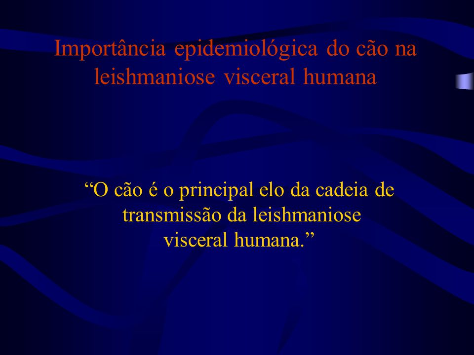 """Importância epidemiológica do cão na leishmaniose visceral humana """"O cão é o principal elo da cadeia de transmissão da leishmaniose visceral humana."""""""