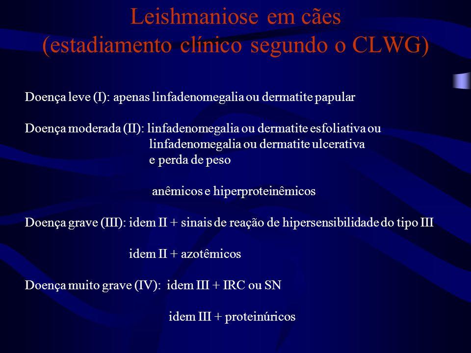 Leishmaniose em cães (estadiamento clínico segundo o CLWG) Doença leve (I): apenas linfadenomegalia ou dermatite papular Doença moderada (II): linfade