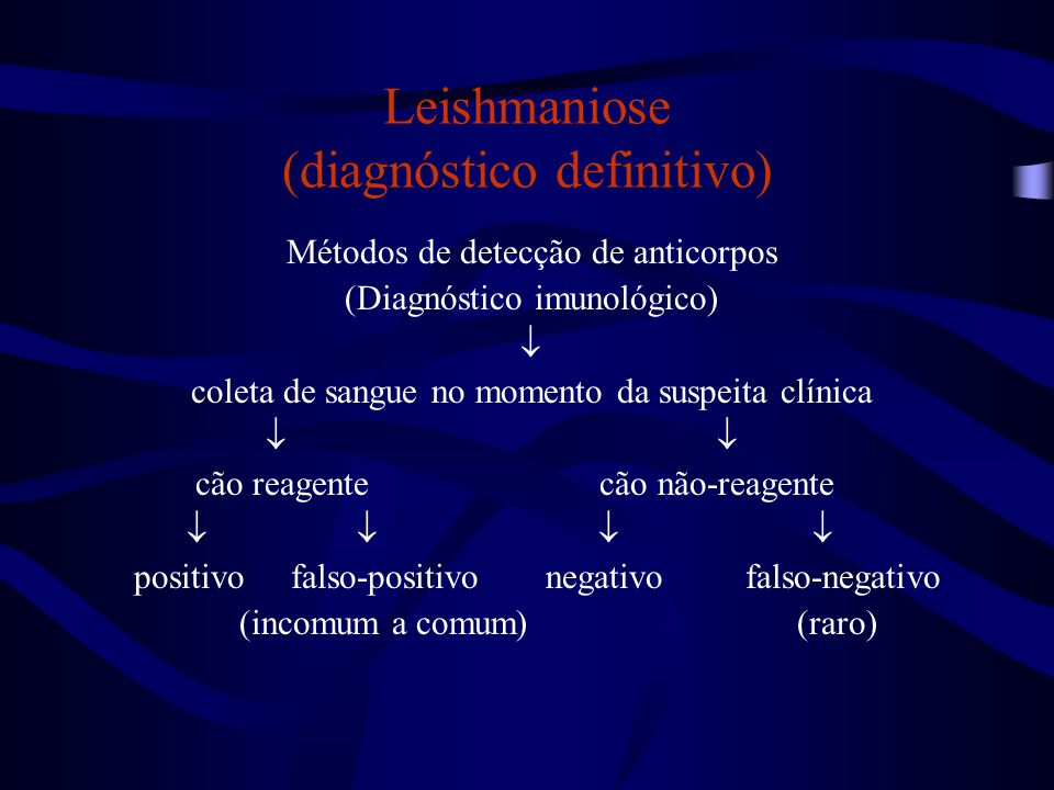 Leishmaniose (diagnóstico definitivo) Métodos de detecção de anticorpos (Diagnóstico imunológico)  coleta de sangue no momento da suspeita clínica 