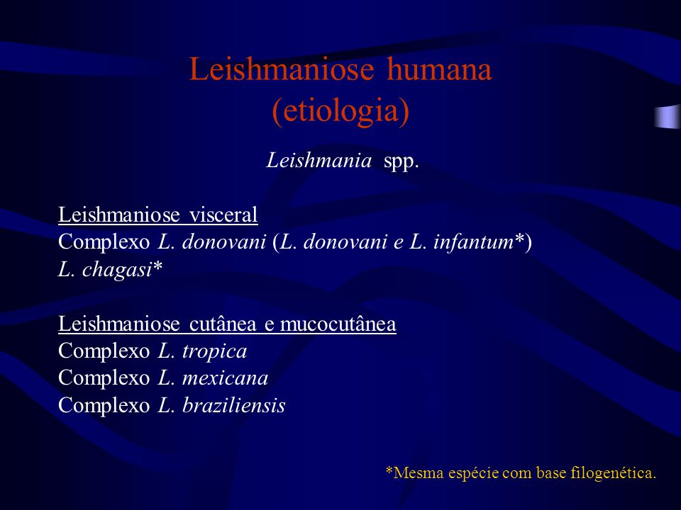 Leishmaniose humana (etiologia) Leishmania spp.Leishmaniose visceral Complexo L.