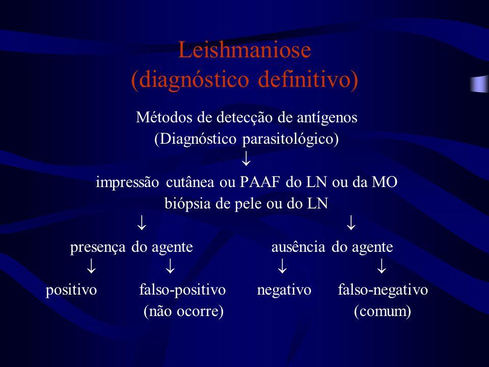 Leishmaniose (diagnóstico definitivo) Métodos de detecção de antígenos (Diagnóstico parasitológico)  impressão cutânea ou PAAF do LN ou da MO biópsia