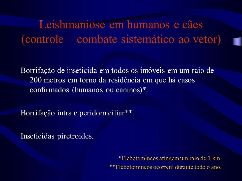 Leishmaniose em humanos e cães (controle – combate sistemático ao vetor) Borrifação de inseticida em todos os imóveis em um raio de 200 metros em torn