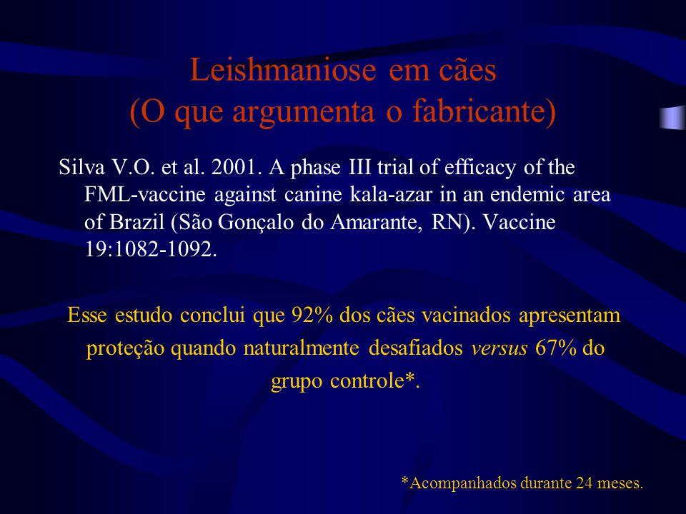 Leishmaniose em cães (O que argumenta o fabricante) Silva V.O. et al. 2001. A phase III trial of efficacy of the FML-vaccine against canine kala-azar