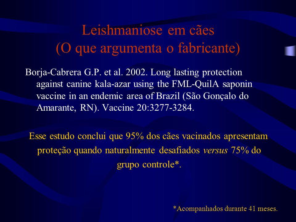 Leishmaniose em cães (O que argumenta o fabricante) Borja-Cabrera G.P. et al. 2002. Long lasting protection against canine kala-azar using the FML-Qui