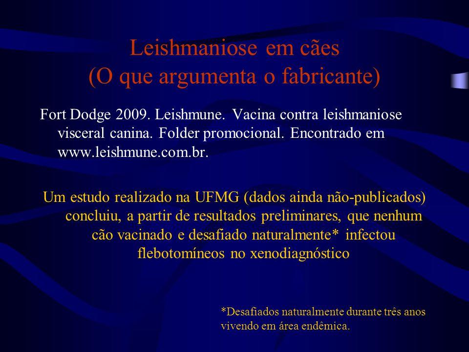 Leishmaniose em cães (O que argumenta o fabricante) Fort Dodge 2009. Leishmune. Vacina contra leishmaniose visceral canina. Folder promocional. Encont