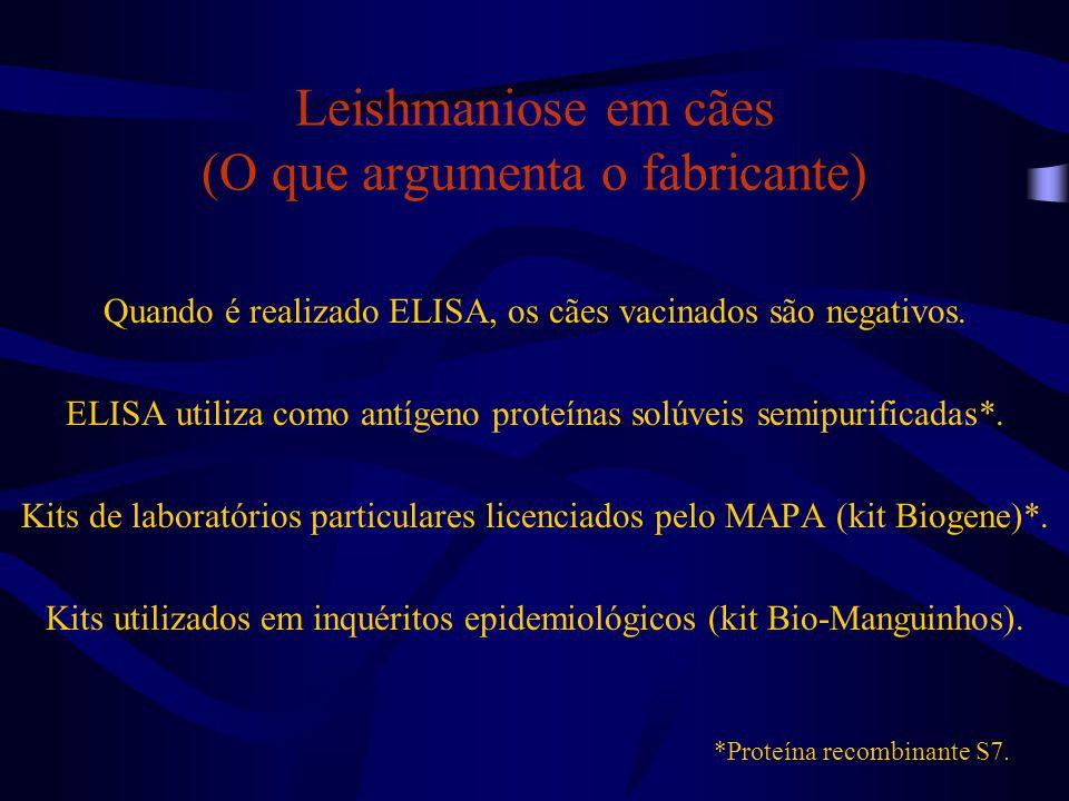 Leishmaniose em cães (O que argumenta o fabricante) Quando é realizado ELISA, os cães vacinados são negativos. ELISA utiliza como antígeno proteínas s