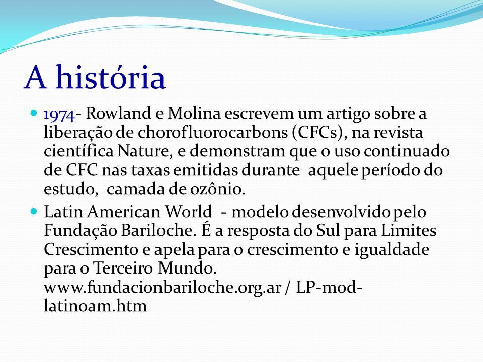A história 1974- Rowland e Molina escrevem um artigo sobre a liberação de chorofluorocarbons (CFCs), na revista científica Nature, e demonstram que o uso continuado de CFC nas taxas emitidas durante aquele período do estudo, camada de ozônio.