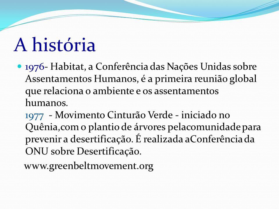 A história 1976- Habitat, a Conferência das Nações Unidas sobre Assentamentos Humanos, é a primeira reunião global que relaciona o ambiente e os assentamentos humanos.