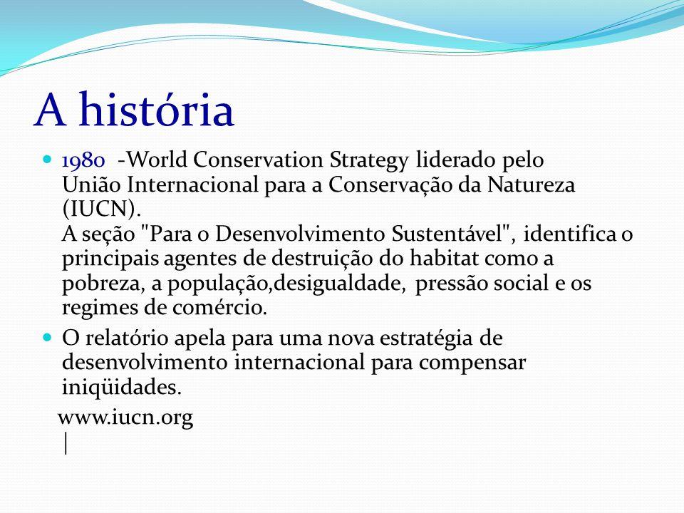 A história 1980 -World Conservation Strategy liderado pelo União Internacional para a Conservação da Natureza (IUCN).