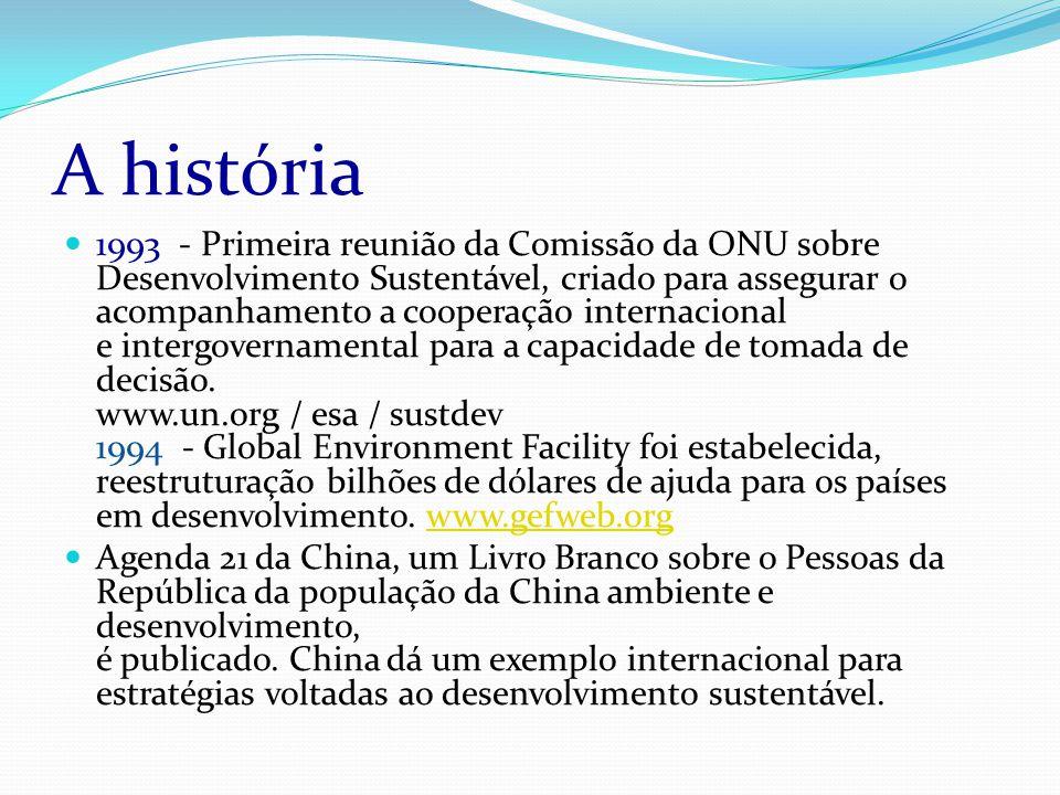 A história 1993 - Primeira reunião da Comissão da ONU sobre Desenvolvimento Sustentável, criado para assegurar o acompanhamento a cooperação internacional e intergovernamental para a capacidade de tomada de decisão.