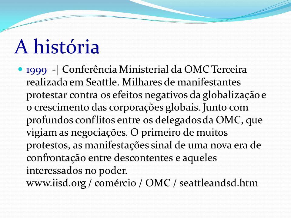 A história 1999 -| Conferência Ministerial da OMC Terceira realizada em Seattle.