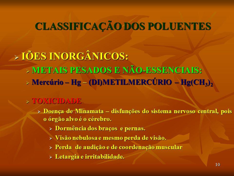 10 CLASSIFICAÇÃO DOS POLUENTES  IÕES INORGÂNICOS:  METAIS PESADOS E NÃO-ESSENCIAIS:  Mercúrio – Hg – (DI)METILMERCÚRIO – Hg(CH 3 ) 2  TOXICIDADE 