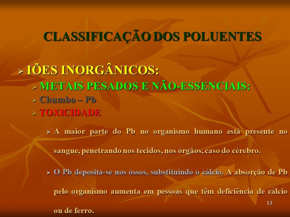 13 CLASSIFICAÇÃO DOS POLUENTES  IÕES INORGÂNICOS:  METAIS PESADOS E NÃO-ESSENCIAIS:  Chumbo – Pb  TOXICIDADE  A maior parte do Pb no organismo hu