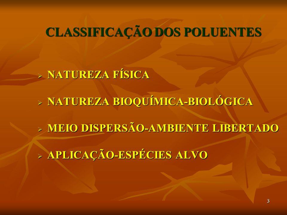 3 CLASSIFICAÇÃO DOS POLUENTES  NATUREZA FÍSICA  NATUREZA BIOQUÍMICA-BIOLÓGICA  MEIO DISPERSÃO-AMBIENTE LIBERTADO  APLICAÇÃO-ESPÉCIES ALVO