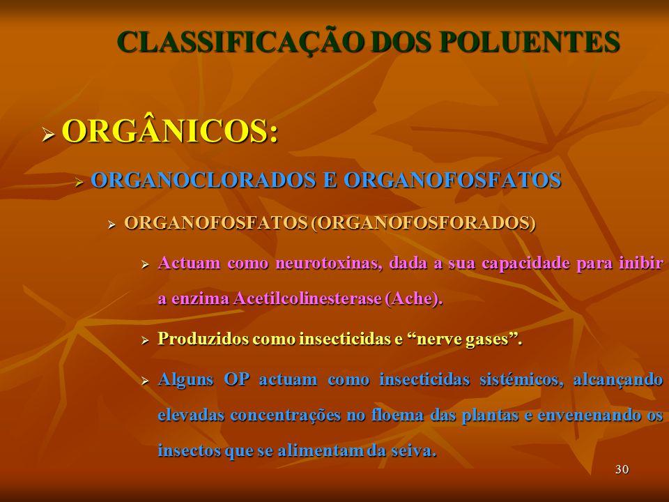 30 CLASSIFICAÇÃO DOS POLUENTES  ORGÂNICOS:  ORGANOCLORADOS E ORGANOFOSFATOS  ORGANOFOSFATOS (ORGANOFOSFORADOS)  Actuam como neurotoxinas, dada a sua capacidade para inibir a enzima Acetilcolinesterase (Ache).