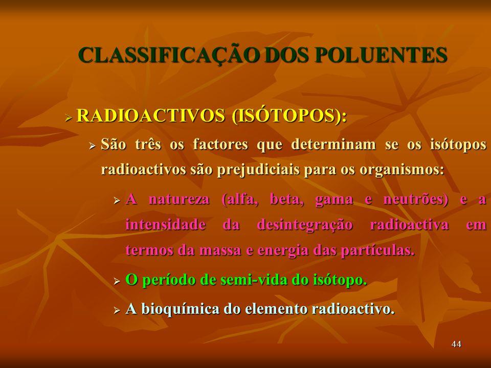 44 CLASSIFICAÇÃO DOS POLUENTES  RADIOACTIVOS (ISÓTOPOS):  São três os factores que determinam se os isótopos radioactivos são prejudiciais para os organismos:  A natureza (alfa, beta, gama e neutrões) e a intensidade da desintegração radioactiva em termos da massa e energia das partículas.