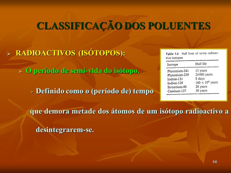 46 CLASSIFICAÇÃO DOS POLUENTES  RADIOACTIVOS (ISÓTOPOS):  O período de semi-vida do isótopo.  Definido como o (período de) tempo que demora metade