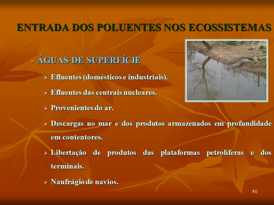 50 ENTRADA DOS POLUENTES NOS ECOSSISTEMAS  ÁGUAS DE SUPERFÍCIE  Efluentes (domésticos e industriais).  Efluentes das centrais nucleares.  Provenie