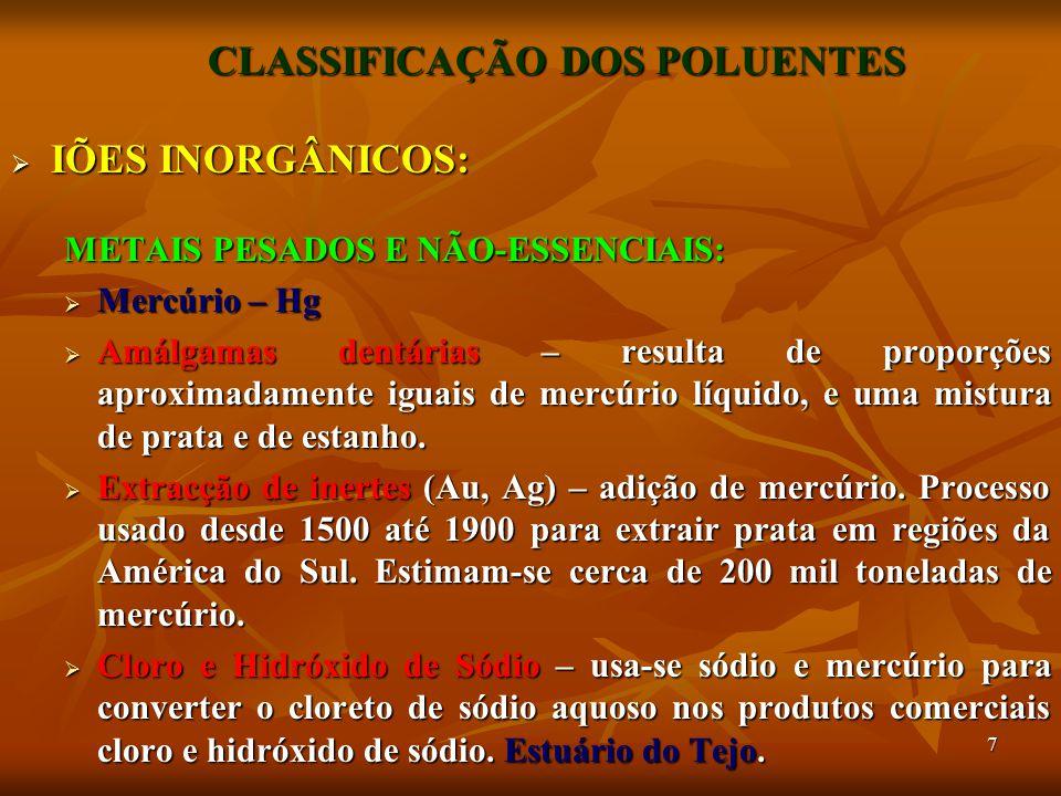 28 CLASSIFICAÇÃO DOS POLUENTES  ORGÂNICOS:  BIFENILOS POLIBROMETOS (PBB's)  Comercializados como retardantes do fogo.