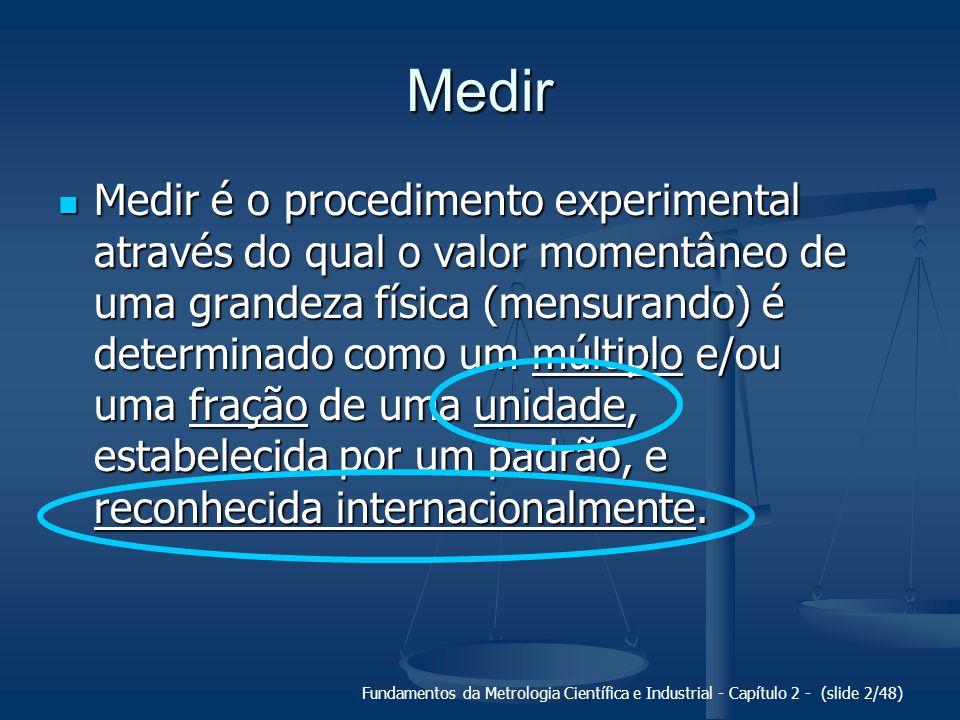 Fundamentos da Metrologia Científica e Industrial - Capítulo 2 - (slide 2/48) Medir Medir é o procedimento experimental através do qual o valor moment