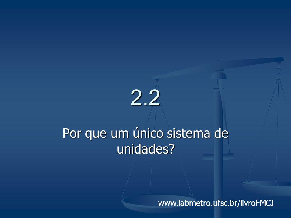 www.labmetro.ufsc.br/livroFMCI 2.2 Por que um único sistema de unidades?