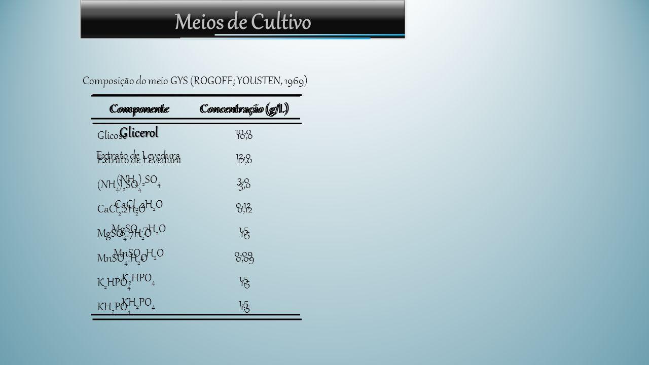 Meios de Cultivo ComponenteConcentração (g/L) Glicose10,0 Extrato de Levedura12,0 (NH 4 ) 2 SO 4 3,0 CaCl 2.2H 2 O0,12 MgSO 4.7H 2 O1,5 MnSO 4.H 2 O0,