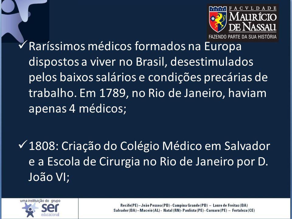 Raríssimos médicos formados na Europa dispostos a viver no Brasil, desestimulados pelos baixos salários e condições precárias de trabalho. Em 1789, no