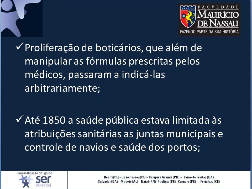 Proliferação de boticários, que além de manipular as fórmulas prescritas pelos médicos, passaram a indicá-las arbitrariamente; Até 1850 a saúde públic
