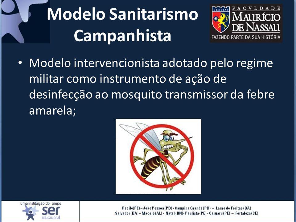 Modelo Sanitarismo Campanhista Modelo intervencionista adotado pelo regime militar como instrumento de ação de desinfecção ao mosquito transmissor da