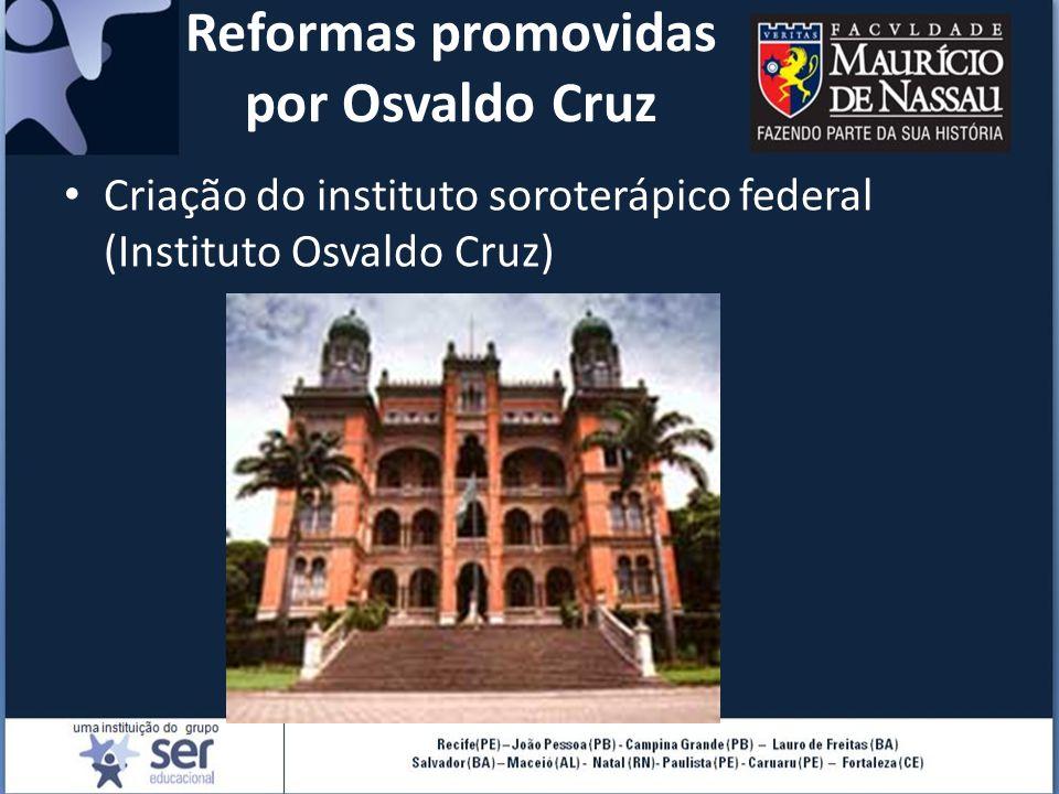 Reformas promovidas por Osvaldo Cruz Criação do instituto soroterápico federal (Instituto Osvaldo Cruz)
