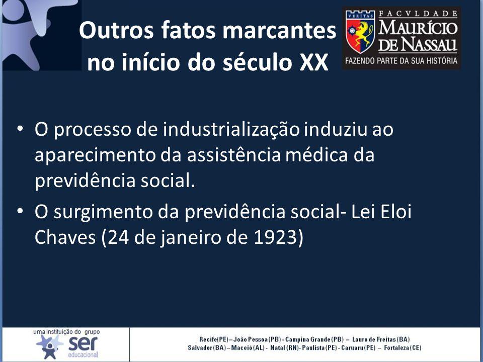 Outros fatos marcantes no início do século XX O processo de industrialização induziu ao aparecimento da assistência médica da previdência social. O su
