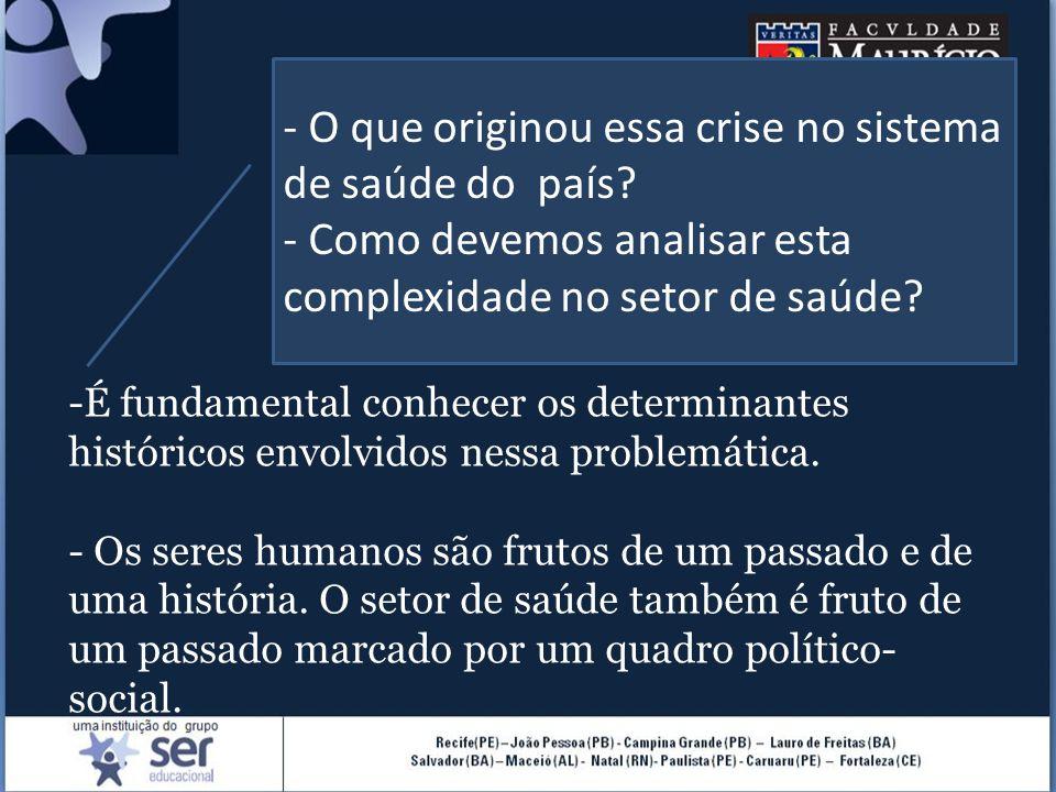 São importantes algumas premissas, tais como: A evolução histórica das políticas de saúde está intimamente ligada à evolução político-social e econômica que abrange toda a sociedade brasileira; O processo evolutivo observado acima obedece ao avanço do capitalismo no Brasil e, consequentemente, do capitalismo em nível internacional;