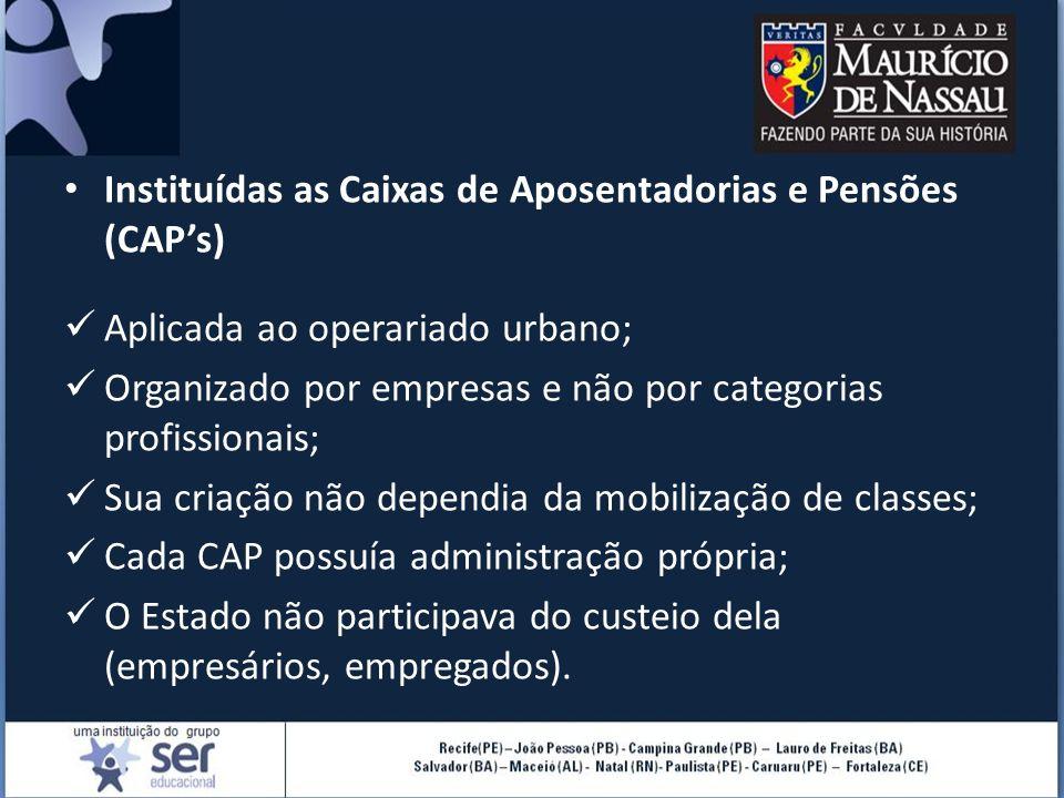 Instituídas as Caixas de Aposentadorias e Pensões (CAP's) Aplicada ao operariado urbano; Organizado por empresas e não por categorias profissionais; S