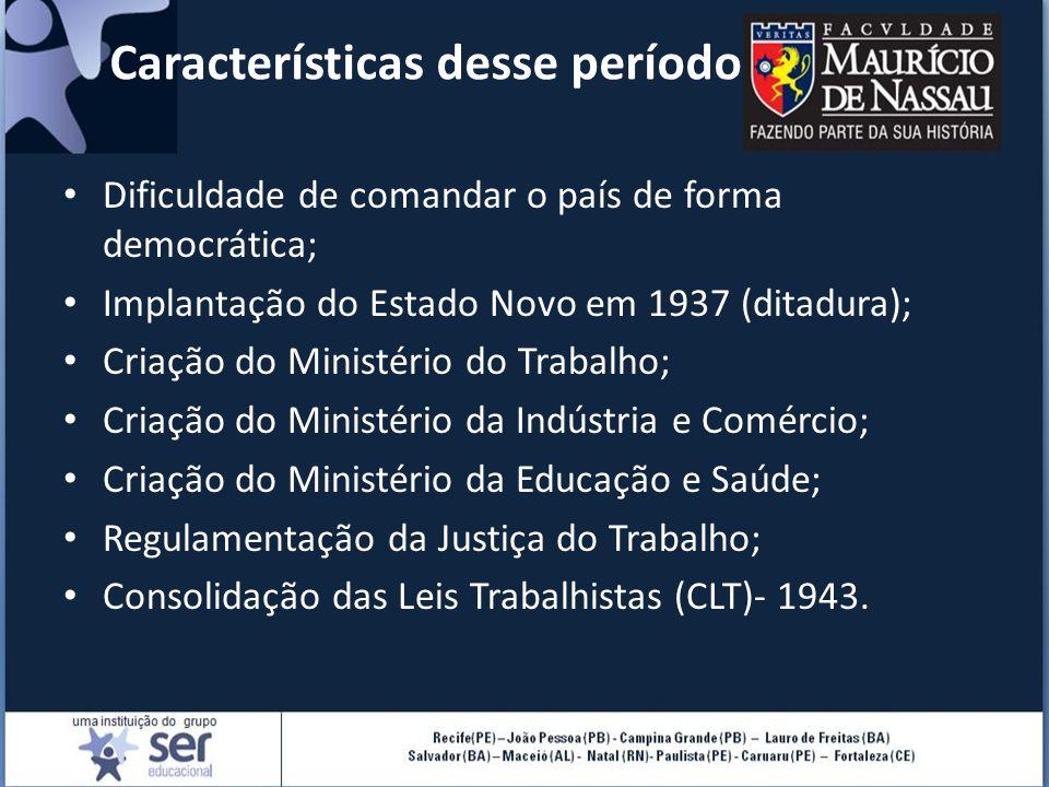 Características desse período Dificuldade de comandar o país de forma democrática; Implantação do Estado Novo em 1937 (ditadura); Criação do Ministéri