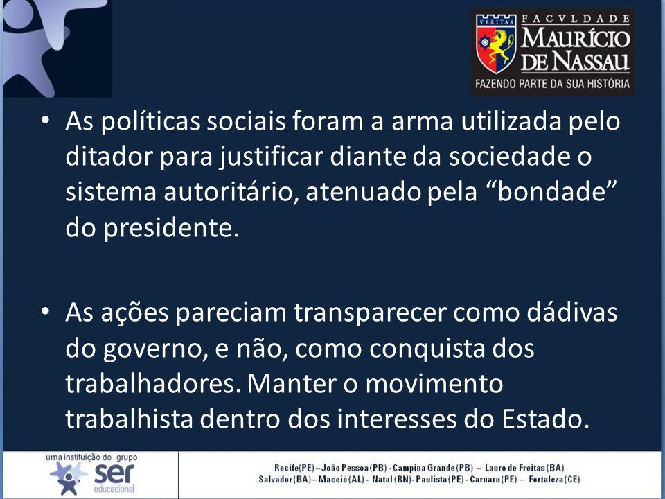 """As políticas sociais foram a arma utilizada pelo ditador para justificar diante da sociedade o sistema autoritário, atenuado pela """"bondade"""" do preside"""