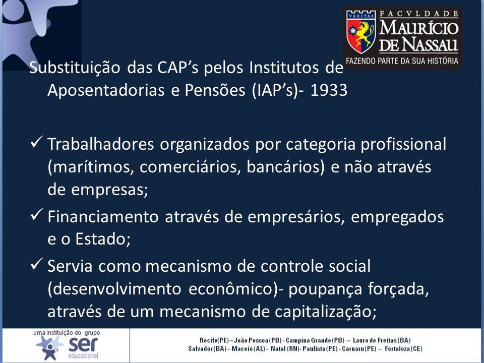 Substituição das CAP's pelos Institutos de Aposentadorias e Pensões (IAP's)- 1933 Trabalhadores organizados por categoria profissional (marítimos, comerciários, bancários) e não através de empresas; Financiamento através de empresários, empregados e o Estado; Servia como mecanismo de controle social (desenvolvimento econômico)- poupança forçada, através de um mecanismo de capitalização;