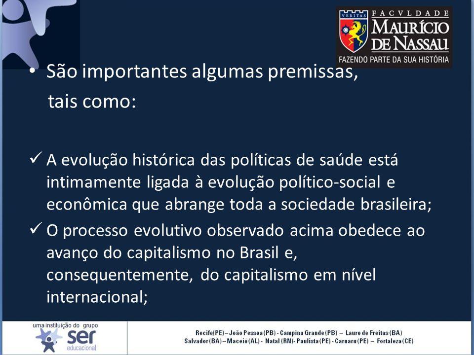 São importantes algumas premissas, tais como: A evolução histórica das políticas de saúde está intimamente ligada à evolução político-social e econômi