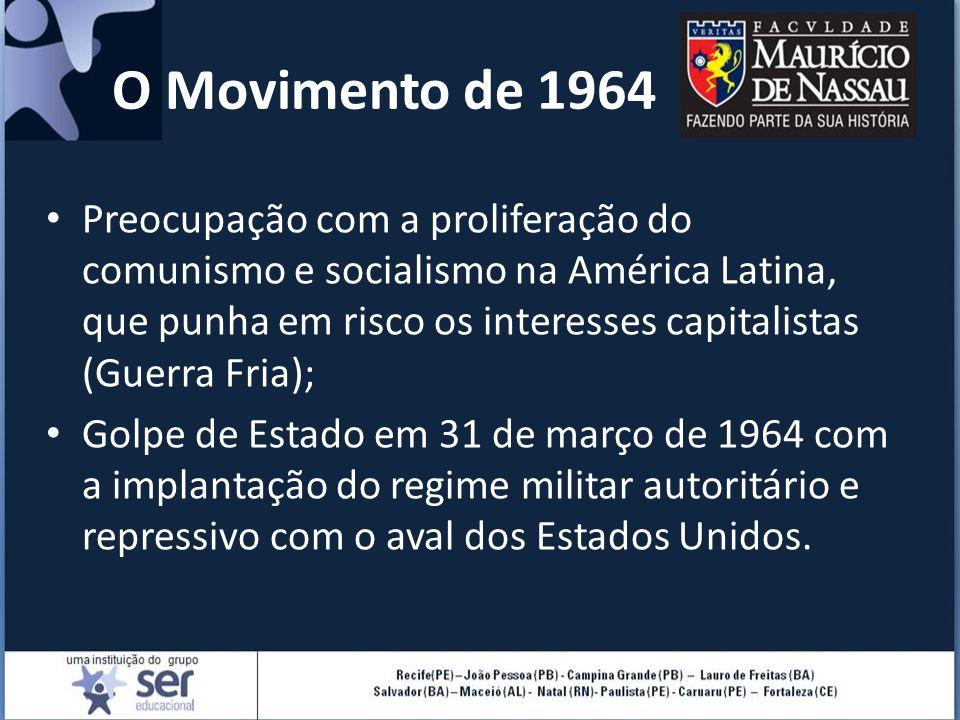 O Movimento de 1964 Preocupação com a proliferação do comunismo e socialismo na América Latina, que punha em risco os interesses capitalistas (Guerra Fria); Golpe de Estado em 31 de março de 1964 com a implantação do regime militar autoritário e repressivo com o aval dos Estados Unidos.